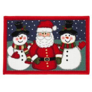 Christmas Mat 1E – Santa and 2 Snowmen 40cm X60cm -1