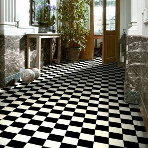 5107 Anti Slip Black and White Tiles Effect Lino Flooring